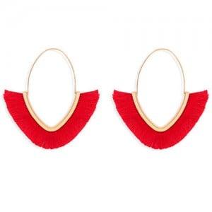 Cute Fashion Cotton Threads Korean Fashion Hoop Style Women Alloy Wholesale Earrings - Red