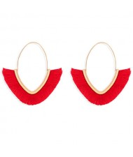 Cute Fashion Cotton Threads Korean Fashion Hoop Style Women Alloy Wholesale Earrings - Red