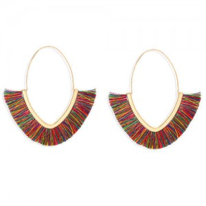 Cute Fashion Cotton Threads Korean Fashion Hoop Style Women Alloy Wholesale Earrings - Multicolor