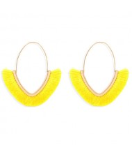 Cute Fashion Cotton Threads Korean Fashion Hoop Style Women Alloy Wholesale Earrings - Yellow