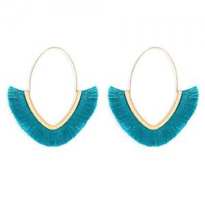 Cute Fashion Cotton Threads Korean Fashion Hoop Style Women Alloy Wholesale Earrings - Blue