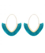 Cute Fashion Cotton Threads Korean Fashion Hoop Style Women Alloy Wholesale Earrings - Blue