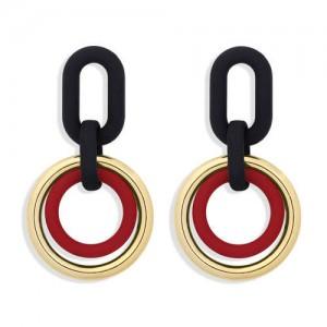 Vintage Style Dual Hoops Dangling Fashion Alloy Women Wholesale Earrings - Red