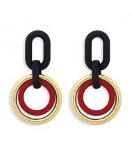 Vintage Style Dual Hoops Dangling Fashion Alloy Women Wholesale Earrings - Red