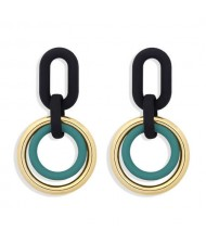 Vintage Style Dual Hoops Dangling Fashion Alloy Women Wholesale Earrings - Green