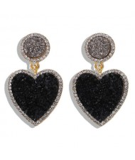 Gems Embellished Romantic Heart Design High Fashion Alloy Women Wholesale Earrings - Black