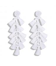 Bohemian Fashion Beads Round with Tassel Cluster Autumn Fashion Wholesale Women Earrings - White