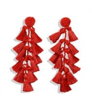 Bohemian Fashion Beads Round with Tassel Cluster Autumn Fashion Wholesale Women Earrings - Red