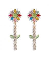 Rhinestone Bohemian Fashion Sunflower Party Style Women Costume Earrings - Multicolor