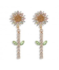 Rhinestone Bohemian Fashion Sunflower Party Style Women Costume Earrings - White