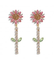 Rhinestone Bohemian Fashion Sunflower Party Style Women Costume Earrings - Pink