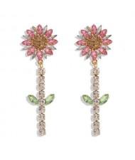 Rhinestone Bohemian Fashion Sunflower Party Style Women Costume Earrings - Pink