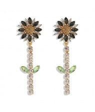 Rhinestone Bohemian Fashion Sunflower Party Style Women Costume Earrings - Black