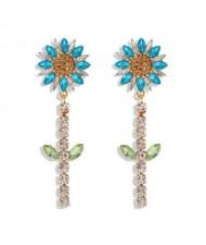 Rhinestone Bohemian Fashion Sunflower Party Style Women Costume Earrings - Blue