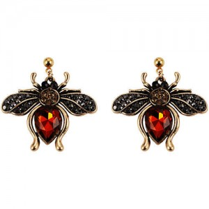 Vintage Rhinestone Bee Design Women Wholesale Fashion Earrings - Red