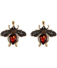 Vintage Rhinestone Bee Design Women Wholesale Fashion Earrings - Red