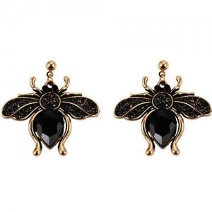 Vintage Rhinestone Bee Design Women Wholesale Fashion Earrings - Black