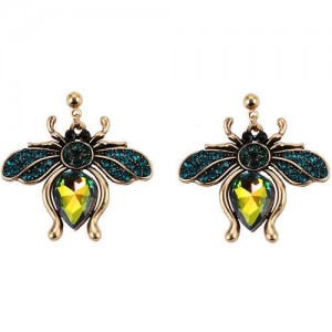Vintage Rhinestone Bee Design Women Wholesale Fashion Earrings - Green
