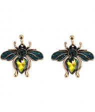 Vintage Rhinestone Bee Design Women Wholesale Fashion Earrings - Green