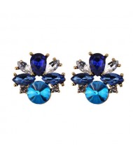 Rhinestone Mini Fashion Korean Style Women Wholesale Stud Earrings - Blue