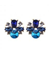 Rhinestone Mini Fashion Korean Style Women Wholesale Stud Earrings - Blue