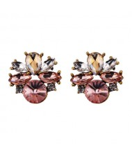 Rhinestone Mini Fashion Korean Style Women Wholesale Stud Earrings - Pink