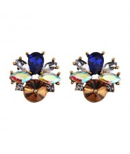 Rhinestone Mini Fashion Korean Style Women Wholesale Stud Earrings - Brown