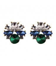 Rhinestone Mini Fashion Korean Style Women Wholesale Stud Earrings - Green