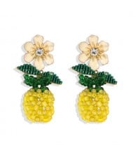 Enamel Flower and Hand Weaving Pineapple Graceful Fashion Women Wholesale Earrings