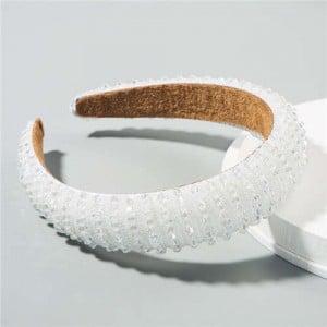 Beads Embellished High Quality Bold Korean Fashion Women Wholesale Hair Hoop - White