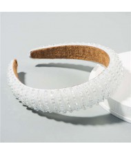 Beads Embellished High Quality Bold Korean Fashion Women Wholesale Hair Hoop - White