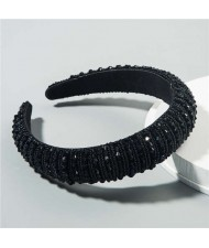 Beads Embellished High Quality Bold Korean Fashion Women Wholesale Hair Hoop - Black