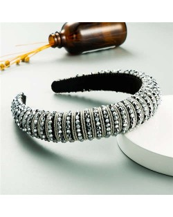 Beads Embellished High Quality Bold Korean Fashion Women Wholesale Hair Hoop - Gray