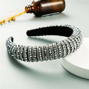 Beads Embellished High Quality Bold Korean Fashion Women Wholesale Hair Hoop - Gray
