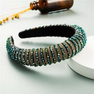 Beads Embellished High Quality Bold Korean Fashion Women Wholesale Hair Hoop - Green
