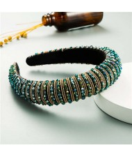 Beads Embellished High Quality Bold Korean Fashion Women Wholesale Hair Hoop - Green