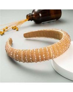 Beads Embellished High Quality Bold Korean Fashion Women Wholesale Hair Hoop - Champagne