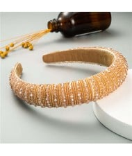 Beads Embellished High Quality Bold Korean Fashion Women Wholesale Hair Hoop - Champagne