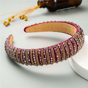 Beads Embellished High Quality Bold Korean Fashion Women Wholesale Hair Hoop - Fuchsia