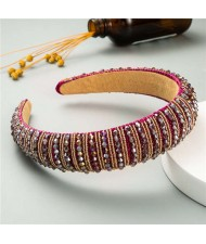 Beads Embellished High Quality Bold Korean Fashion Women Wholesale Hair Hoop - Fuchsia
