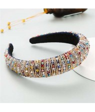 Beads Embellished High Quality Bold Korean Fashion Women Wholesale Hair Hoop - Multicolor