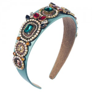 Luxurious Fashion Baroque Style Online Celebrities Choice Women Hair Hoop - Blue
