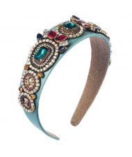 Luxurious Fashion Baroque Style Online Celebrities Choice Women Hair Hoop - Blue