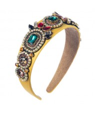 Luxurious Fashion Baroque Style Online Celebrities Choice Women Hair Hoop - Yellow