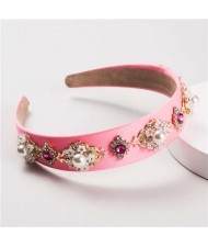 Pearl and Rhinestone Combo Flower Decorated Baroque Style Brides Fashion Hair Hoop - Pink