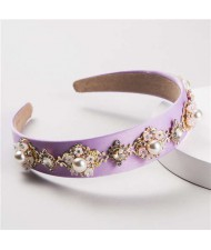 Pearl and Rhinestone Combo Flower Decorated Baroque Style Brides Fashion Hair Hoop - Violet