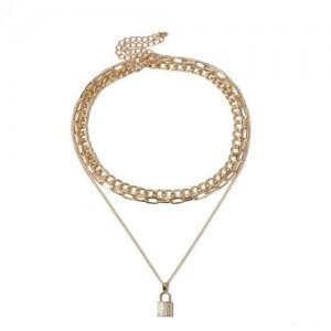 Rhinestone Inlaid Lock Pendant Triple Layers Design High Fashion Women Wholesale Necklace - Golden