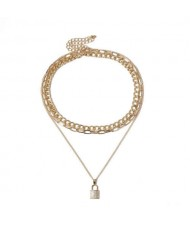 Rhinestone Inlaid Lock Pendant Triple Layers Design High Fashion Women Wholesale Necklace - Golden
