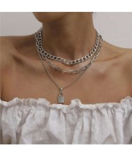 Rhinestone Inlaid Lock Pendant Triple Layers Design High Fashion Women Wholesale Necklace - Platinum