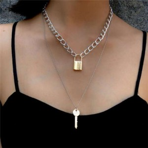 Key and Lock Pendant Dual Layers Creative Fashion Women Alloy Wholesale Necklace - Mixed Colors